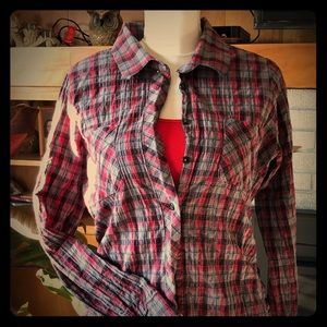 Decree Fitted Plaid Shirt Lg